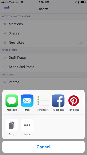 save or share facebook messaging link from facebook pages app