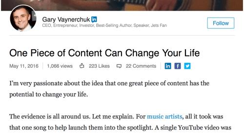 Beispiel für einen verlinkten Publisher-Beitrag