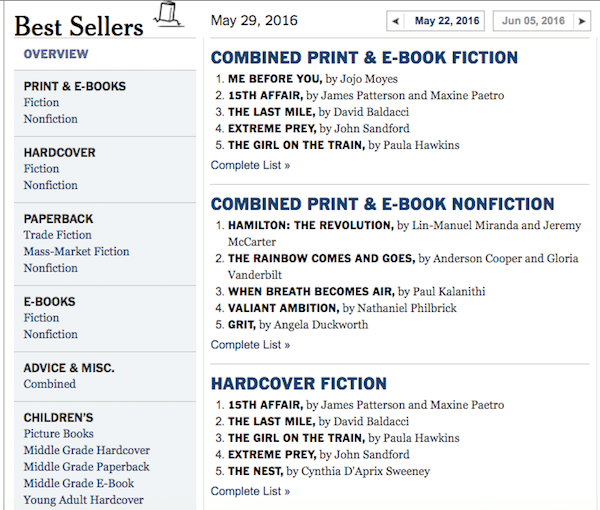 NYT best sellers list