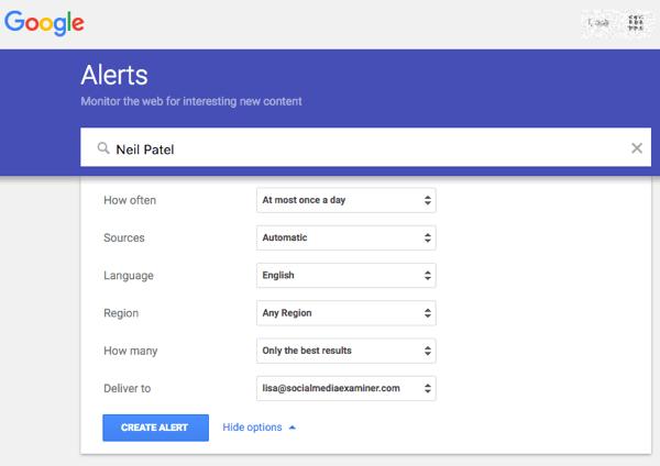 google alert set up