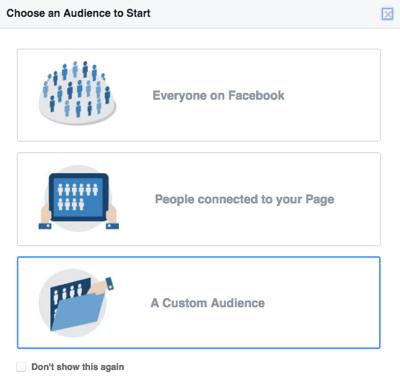 choose facebook custom audience