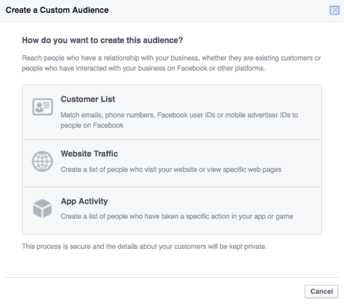 facebook upload customer database