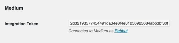 medium wp plugin integration token