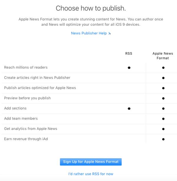 apple news publish options