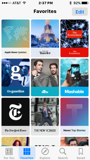 apple news favorites