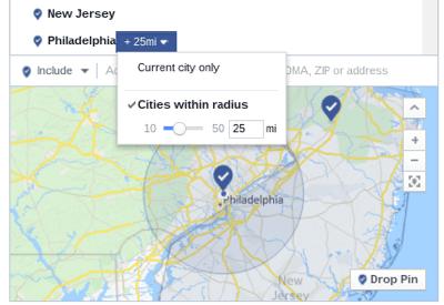 facebook ad target radius