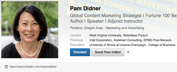 linkedin profile custom url example