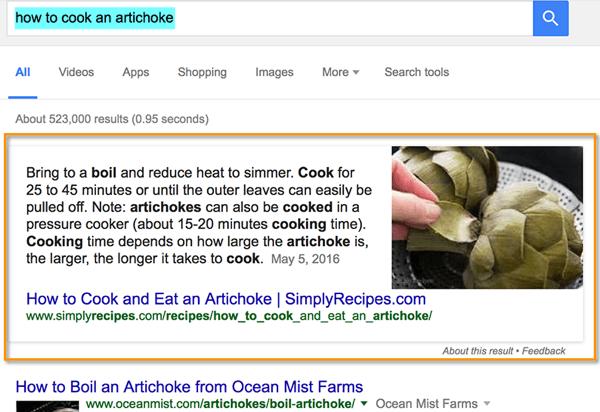 google quick answer box