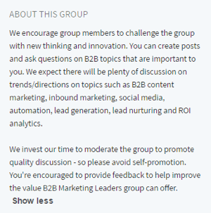 linkedin group description