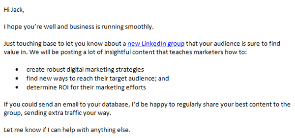 linkedin group outreach email