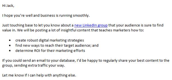linkedin group outreach email