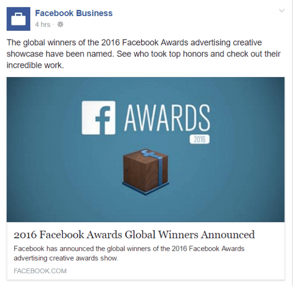 2016 facebook awards