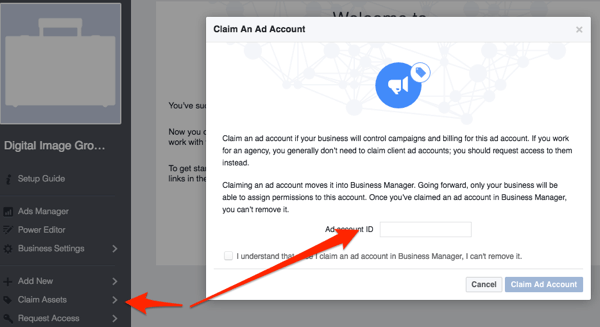 facebook claim ad account - Agency Manager