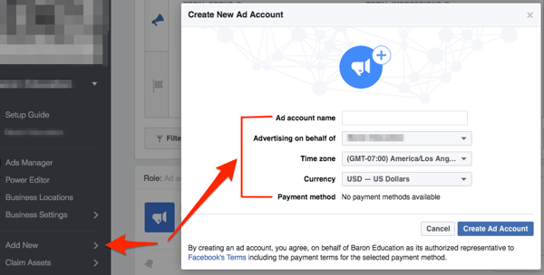 facebook create ad account