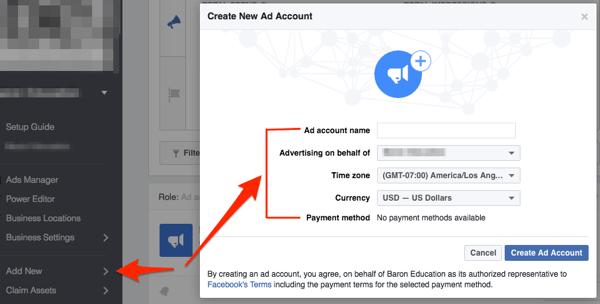Facebook Anzeigenkonto erstellen