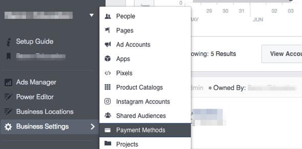 Facebook Zahlungsmethode einrichten