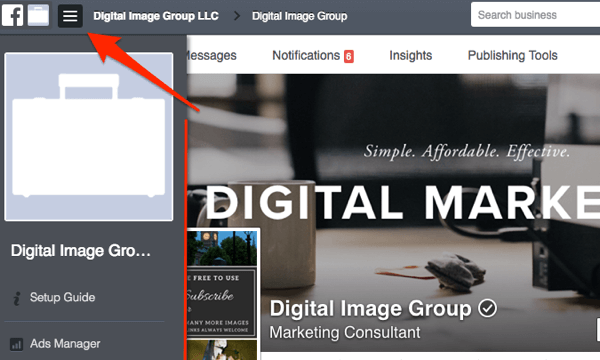 facebook toggle business manager menu
