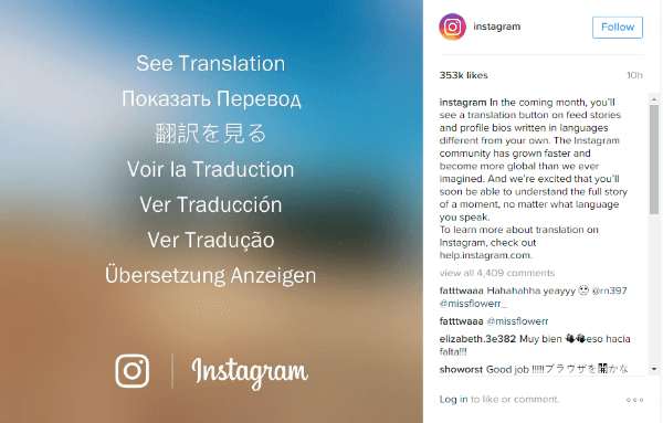 instagram translation button