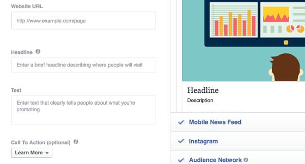 facebook ads add text