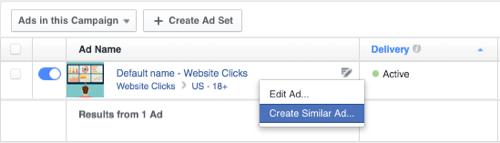 facebook create similar ad