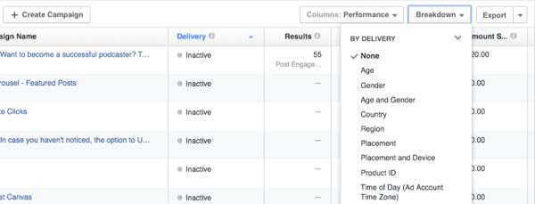 facebook ads customize data