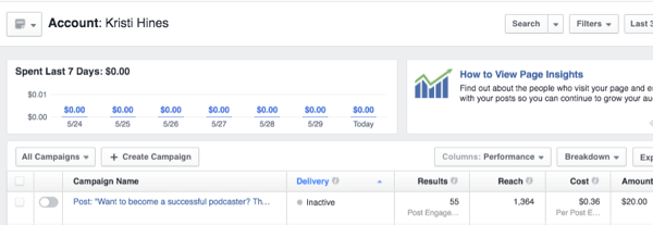 facebook ads insights