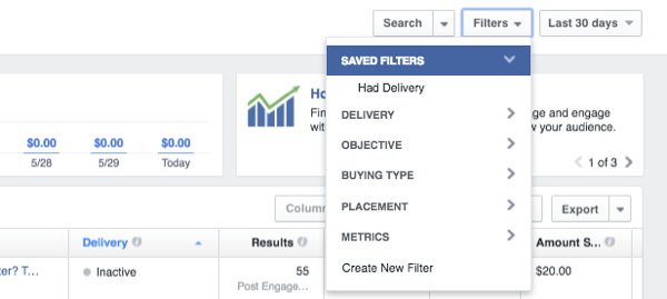 facebook ads manager filter data