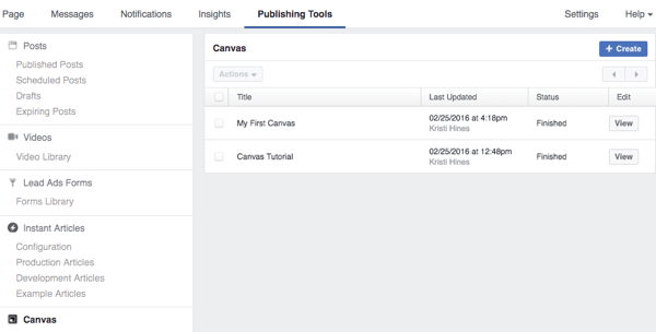 facebook publishing tools canvas