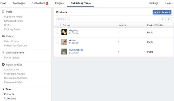 facebook publishing tools shop section