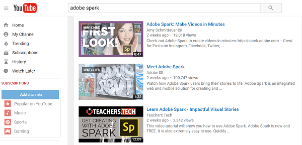 adobe spark youtube search
