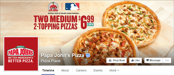 facebook cover photo papa johns
