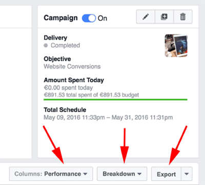 facebook ads manager export results