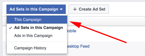 facebook ads manager select campaign