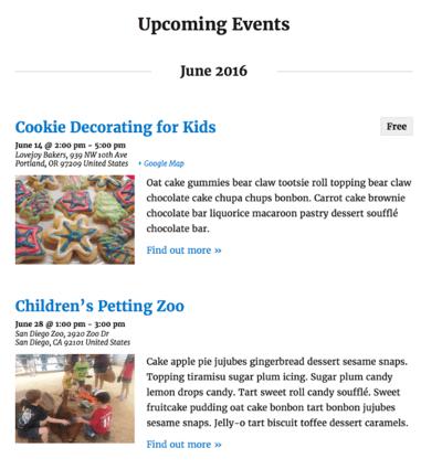 events calendar plugin