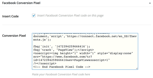 facebook conversion pixel plugin