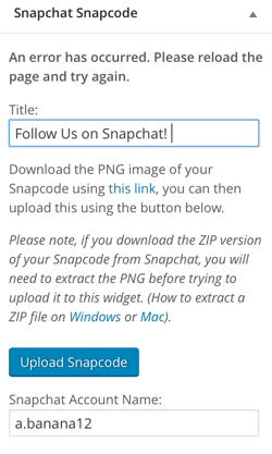 snapchat snapcode widget plugin