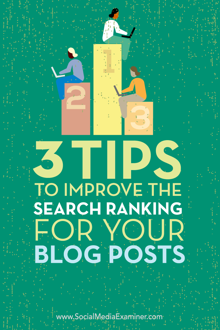 Tips on three ways to improve the search ranking for your blog posts.