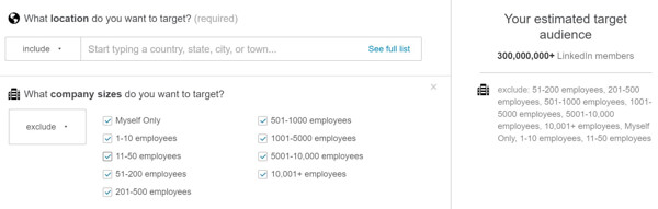linkedin audience filtered to exclude company sizes