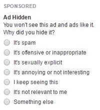 facebook ad menu feedback options