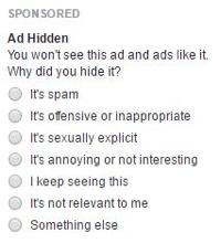 facebook ad menu feedback options