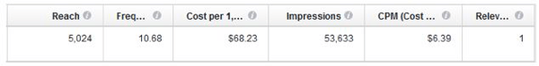 facebook ad metrics sample info
