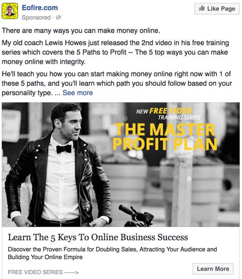eofire.com sponsored post on facebook