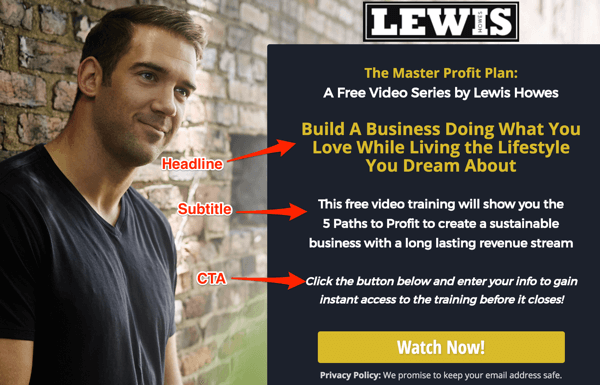 lewis howes landing page example
