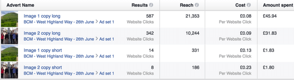 facebook ad campaign results sample
