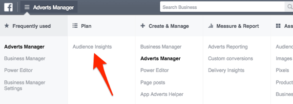 facebook ads manager menu showing audience insights