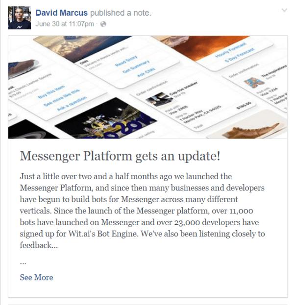 facebook messenger bot update