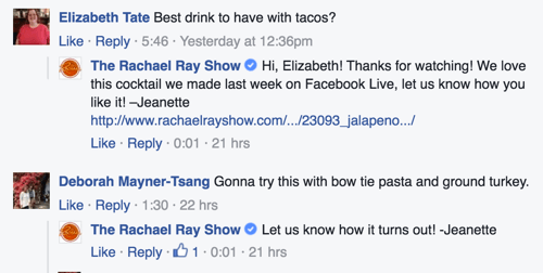 the rachel ray show facebook comment replies example