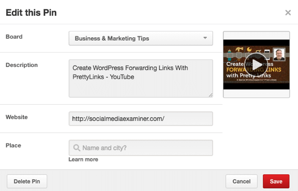 edit website link for video pin