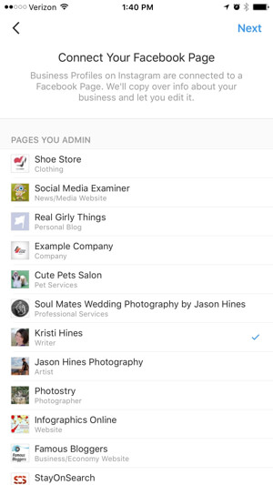 instagram business profile connect to facebook page