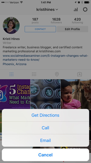 instagram business profile contact options